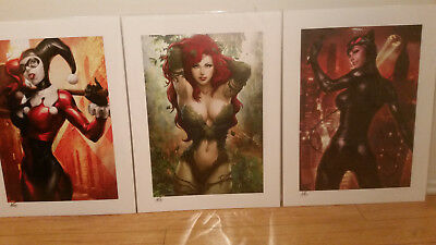 2016 SDCC Sideshow Stanley ARTGERM Lau SET HAND SIGNED! (Harley, Catwoman & Ivy)