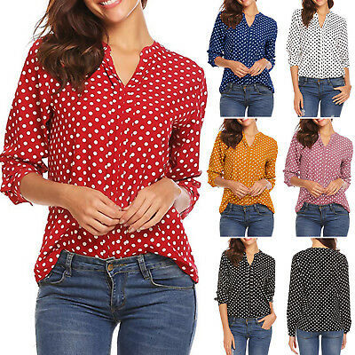 Womens Polka Dot Long Sleeve Blouse Tops Ladies Plus Size Office V Neck T-Shirts