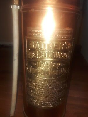 RARE Antique 2.5 Gallon Copper & Brass Keystone Fire Extinguisher Empty-Polished