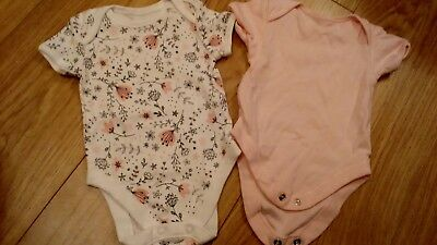 two baby girl vests age 0-3 months
