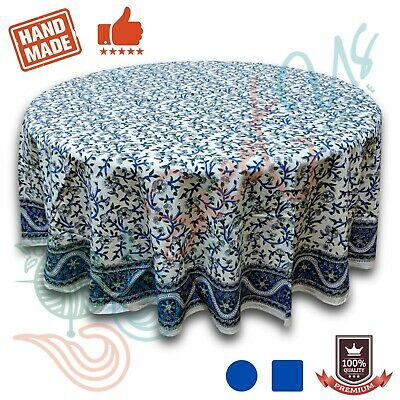 Hand Block Printed Cotton Floral Tablecloth Square Round 72 inches Blue Green
