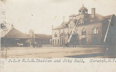 D.L. & W. Railroad Station and City Hall Norwich NY rppc 1906