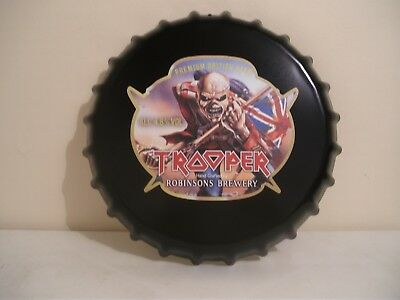 """Brand new Iron Maiden Trooper 14"""" novelty metal bottle top wall sign, mancave"""