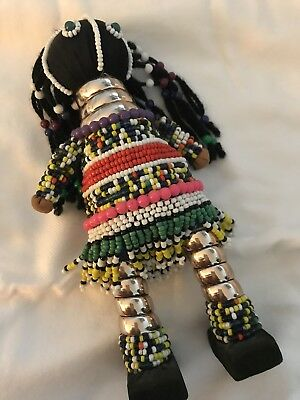 "Black African Masai Hand Made Unique Exotic Beaded Doll - 6.5""+ Two Small Ones"