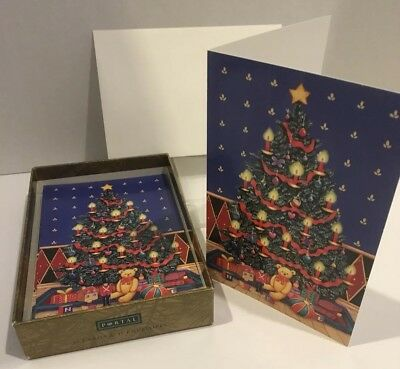 Vintage Christmas Tree and Toys Greeting 9 Cards and Envelopes In Box Unused B1