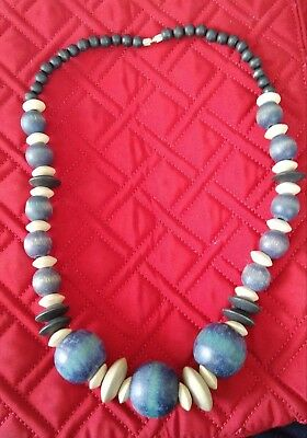 Wooden necklace Blue Vintage. Great condition. No other like it anywhere.