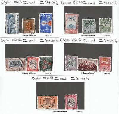 Stamps - Ceylon 1950-52 Lot of 14 - Used