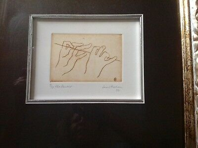 "Louis Kayan Original Etching ""The Flautist"" Autographed"