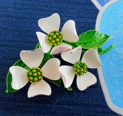 Vintage Retro 60's / 70's Cluster of Three Flowers Enamel Brooch Larger Size