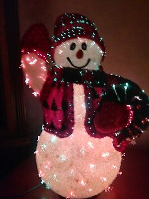 color changing fiber optic lights christmas snowman with wreath avon 2002
