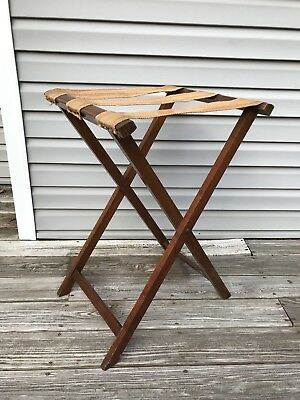 Vintage Wood Folding Hotel LUGGAGE RACK LARGE Suitcase Stand B&B Decor