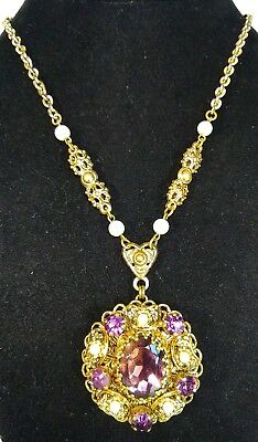 Vintage West Germany Victorian Revival Gold Filigree Purple Crystal Necklace