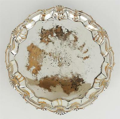 GEORGE III OLD SHEFFIELD PLATE Small FOOTED WAITER TRAY c1765 Engraved Monogram