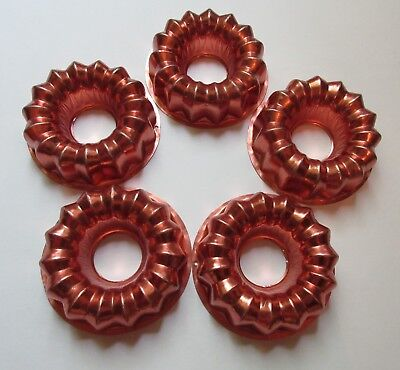 """Lot of 5 Vintage Copper Jello Mold 4"""" Fluted Ring Whirligig Craft"""