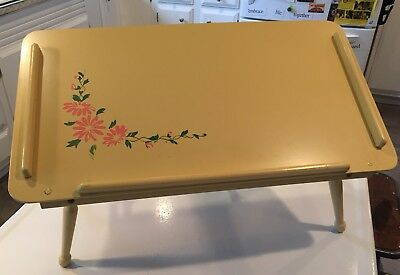 Vintage Folding Wood Breakfast In Bed Tv Tray Table Hand