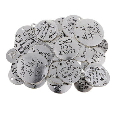 16pcs Vintage Silver Alloy Engraved Love Dog Words  Pendant Charms Crafts  50669