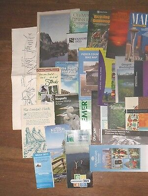 Mixed collection of 23 travel brochures/maps for Washington State, USA-variety