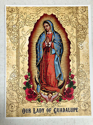 OUR LADY OF GUADALUPE 8x10 Virgin Mary Custom Catholic Art Picture Print Angels