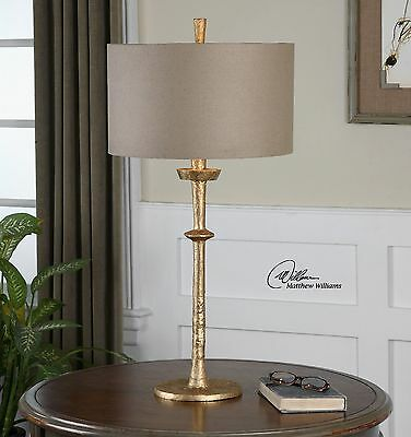"""Urban Industrial Hammered Cast Iron Finish 32"""" Aged Gold  Table Lamp"""