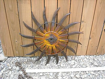 Hamby Vintage Industrial Iron Rotary Hoe Cultivator Wheel Garden Farm Yard Decor