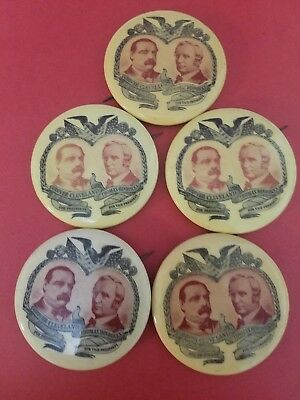"""Grover Cleveland for President 2"""" Button Pin 1967 New York Art Fair lot of 5"""