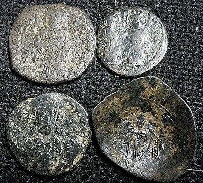 Lot of 4 Ancient Byzantine coins Constantine X Justin II Constantine VII trachy