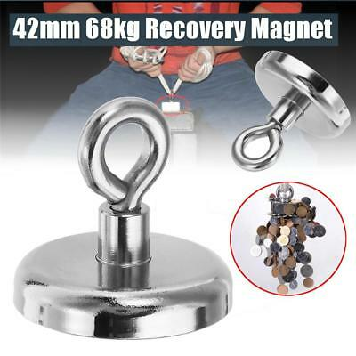 Super Strong Neodymium Recovery Fishing Magnet 42mm 68kg Eyebolt For Sea Work UK