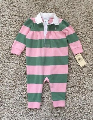 Ralph Lauren Baby Girls Pink & Green Striped Romper One-piece Outfit. 6 Mo. New!