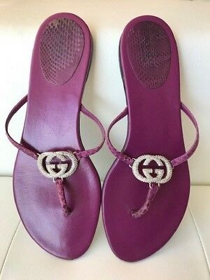 0b2b47269 Used Gucci Purple Snakeskin Leather Swarovski Gg Logo Thong Flip Flop  Sandals 7