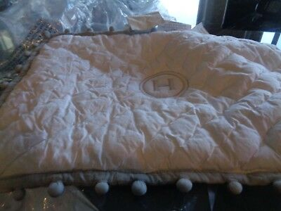Pottery Barn Kids pom pom small crib toddler sham Gray mono H marks on back