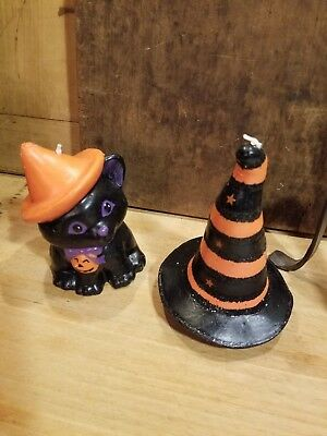 Vintage Old Halloween Candles So Adorable Black Cat And Witch's Hat
