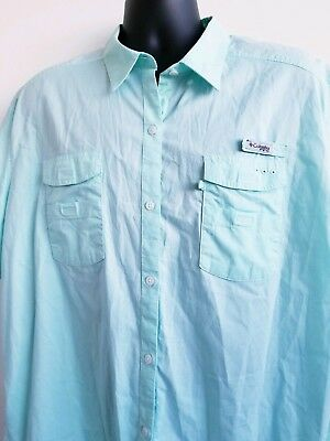 Columbia PFG Shirt Women's Size 3X /3TF Fishing Sports Outdoor Vented Back Aqua