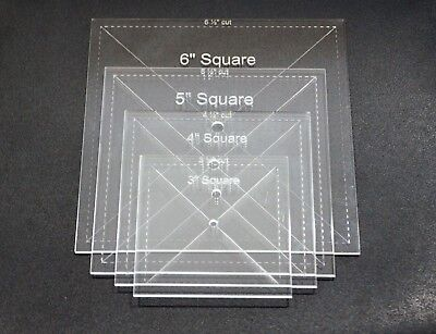 "1/8"" Clear Acrylic Laser Cut Quilting Templates - Square 3-6 Inch"