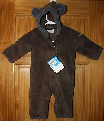 NWT Columbia SNOWIES BEAR BUNTING Fleece Suit BROWN Infant 0-3 Months XN0008-287