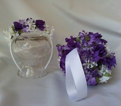 Flower Girl Kissing Ball and Matching Headband Purple and White