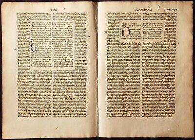 INCUNABULA TWO-PAGE FOLD OUT Hand Made Laid Paper BIBLE PAGES