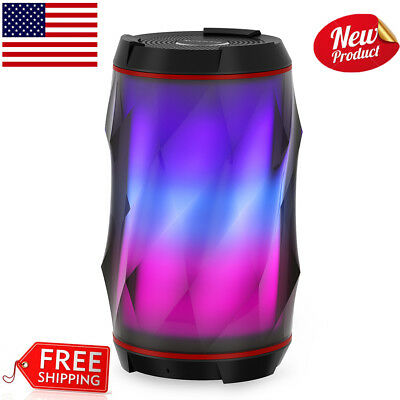 Portable Wireless TWS Bluetooth Speaker LED 3D Surround Stereo Built-in Mic AUX