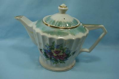 Kittens Vintage Japanese Floral Teapot Green & Gold Accents
