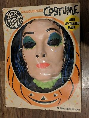 Vintage 1960's Ben Cooper MORTICIA Addams Family Mask Costume & w/Box Monster
