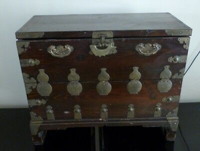 Beautiful Antique Korean Chest with Brass Etched Decoration