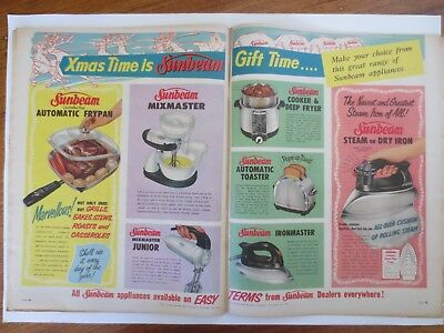 Vintage Australian advertising 1956 ad SUNBEAM APPLIANCES iron toaster mixer art