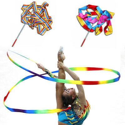 4M Dance Ribbon Gym Art Gymnastic Rhythmic Streamer Twirling with Rod Wand