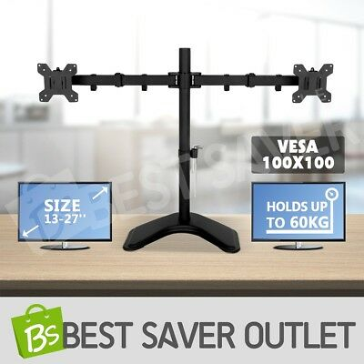 Dual Arm Monitor Stand TV Bracket LCD Computer Screen Display Desk Mount Holder