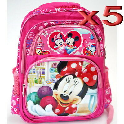 5pc Wholesale Large Kids Girls Disney Minnie Mouse Backpack School Bags 30x40cm
