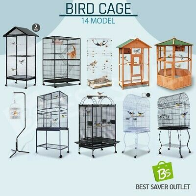 Multi Size Parrot Pet Bird Cage Carrier Portable Canary Budgie Finch Perch Stand