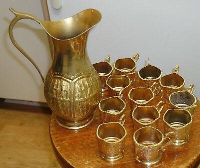 """12X Set of Tea glass Holder(new) & Jar (used) _ Golden Plated """"Hand Made"""""""
