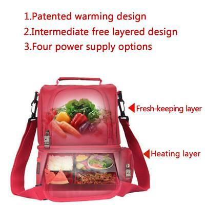 12L USB Heating Insulated Lunch Box Picnic Storage Bag Travel Pouch Food Warming