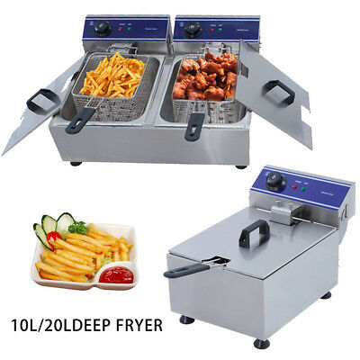 10L/20L Electric Deep Fryer Commercial Fry Frying Fat  Chip  Cooker Tank Basket