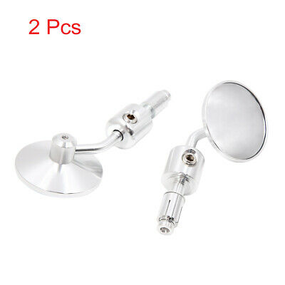 Silver Tone Universal Aluminum Alloy Motorcycle Round Rear View Mirror Pair