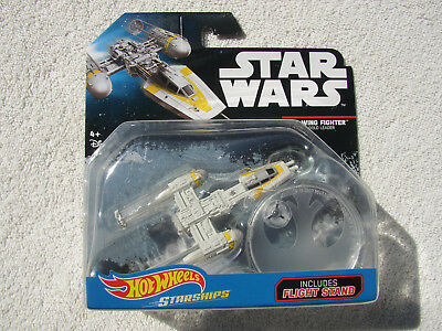 STAR WARS HOT WHEELS STARSHIPS Y-WING FIGHTER GOLD LEADER w FLIGHT STAND NEW BP!